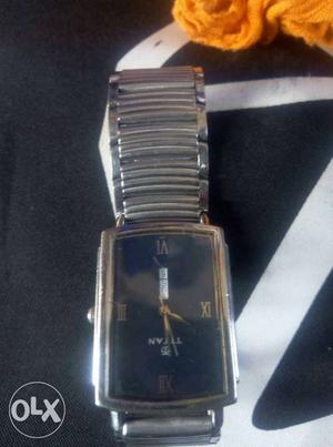 Square Black Faced Titan Analog Watch With Silver Link Strap