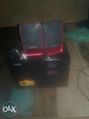 Black And Red Intex Computer Speaker System