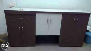 Brown And White Wooden Desk With Cabinet And Drawer Chest