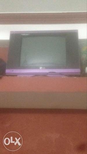 Purple And Black LG CRT TV