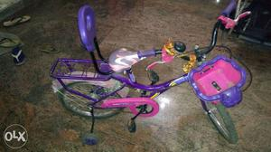 Toddler's Purple And Pink Bicycle With Training Wheels