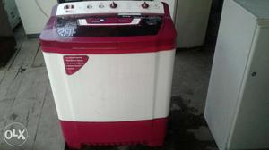 White And Red All-in-one Clothes Washer And Dryer
