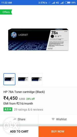 Black HP 78A Toner Cartridge