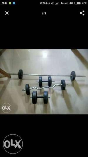 Home gym set.. 26 kg weight+biceps rod+curl rod