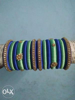 A set of beautiful royal blue and green colour