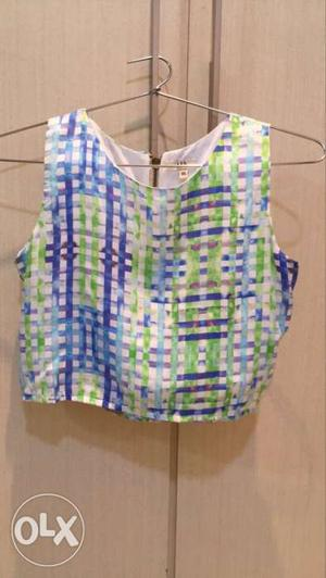 AND crop top, UNUSED, white with blue and green