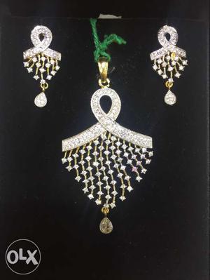 American Diamond pendent set with chain brand new set