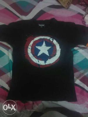 Captain America Print Black Crewneck T Shirt