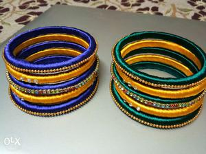 Green nd yellow and blue and yellow bangles
