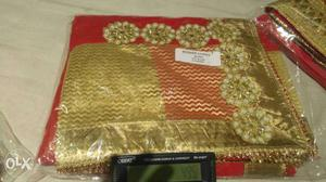 Red And Gold Colored Dupatta S
