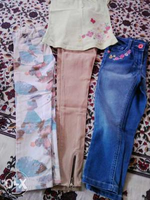 Baby branded jeans for 5 to 6 years 2 jeans one top
