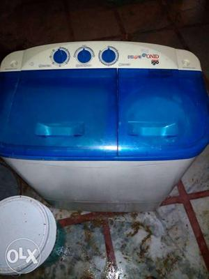 Blue And White Top Load Washing Machine With Dryer