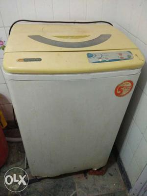 White And Beige Top Load Washing Machine