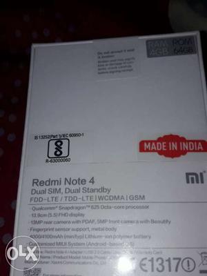 Redmi note 4 4 gb ram 64 gb memory New sealed box