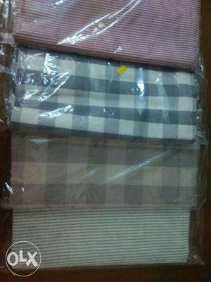 Three Red-and-white Check, Blue And White Check Textiles