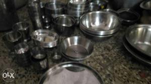Steel utensils bartan posot class for Kitchen set bartan
