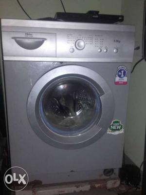 Silver Front Load Washing Machine