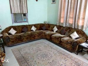 Brown And White Fabric Sectional Sofa 5 piece. L shape. 10