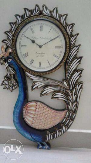 Vintage Peacock Design Wall Clock