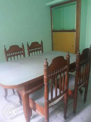 White And Brown Wooden Table And Chairs Dining Set