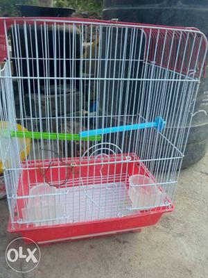 White And Red Metal And Plastic Hamster Cage