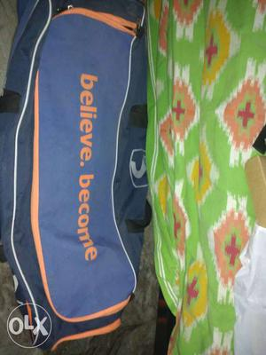 Blue And Orange Believe. Become Printed Sports Bag