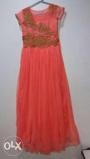 DESIGNER DRESS Peach colour with diamond work