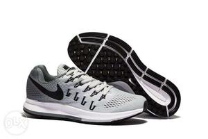 Pair Of Grey-and-black Nike Running Shoe