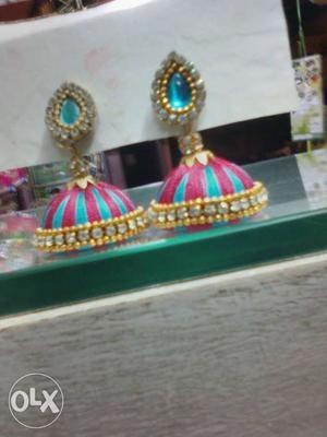 Pink And Teal Thread Jhumka Earrings