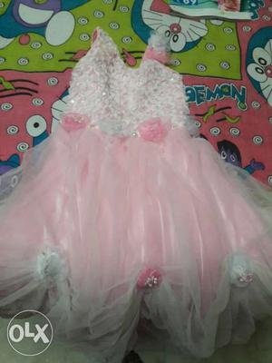 Pink And White Sleeveless Dress