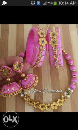 Pink Thread Jhumka Earrings With Bangle Bracelets Set