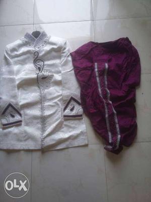 White And purple Sherwani