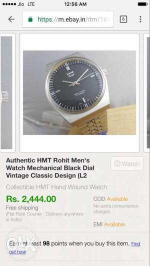 Automatick hmt rohit mens watch sail ₹