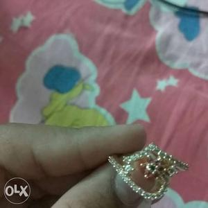 Silver And Diamond Embellished Ring