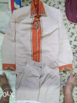 White And Orange Dress Shirt And White Pants