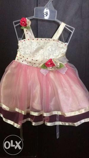 Brand new White And Peach Sleeveless Dress
