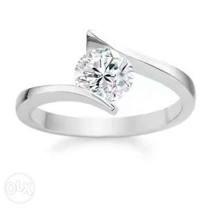 Silver Diamond Solitaire Ring