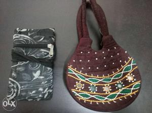 Brown, Green And Yellow Hand Bag; Gray And White Sling Bag