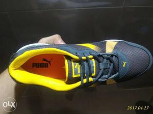 Black And Yellow Puma Run Shoes