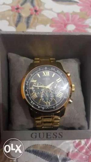 Gold Link Guess Chronograph Watch In Box