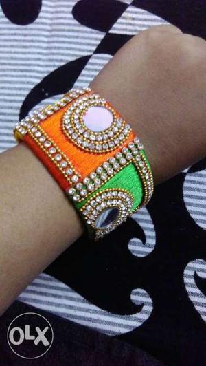 Orange, Green, And Diamond Beaded Bangle