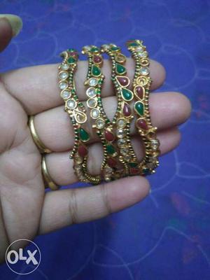 Set of 4 polki bangles from Jaipur. Size 2.8