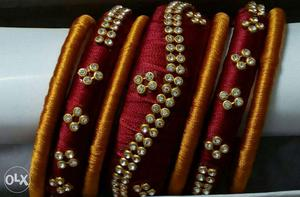 Three Red And Brown Silkthread Beaded Bangles