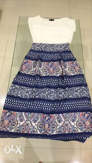 White, Pink, Purple, And Blue Paisley Sleeveless Dress