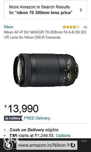 Nikon AF-P dx nikkor  f/4-6.3G ED VR lens