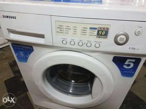 White Samsung Front Load Clothes Washing Machine with free
