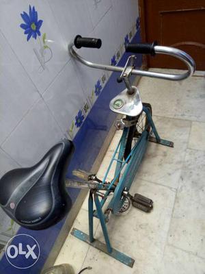 Black And Teal Stationary Bike