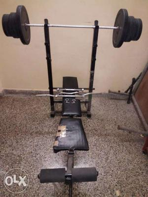 Exercise bench with incline decline and flat