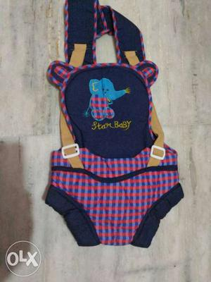Baby's Blue And Red Plaid Baby Carrier