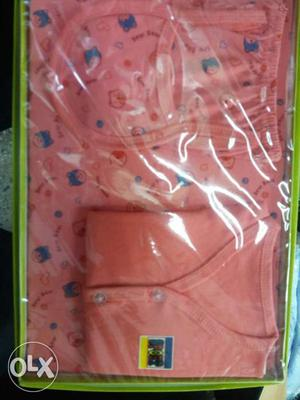 Baby's Pink And Blue Layette Set In Box